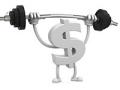 Signo de dólar con piernas y brazos levantando una barra con pesas - Resistencia financiera