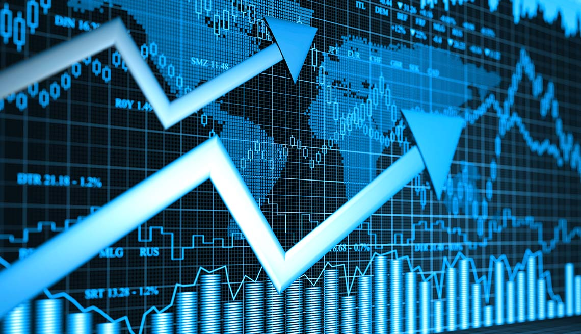 Ilustración del mundo con indicadores económicos - Cambios tasas de interés al comprar vivienda