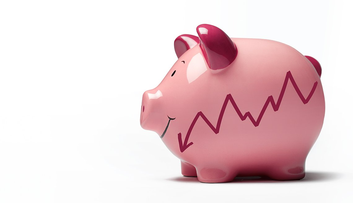 Piggy bank with graph going down