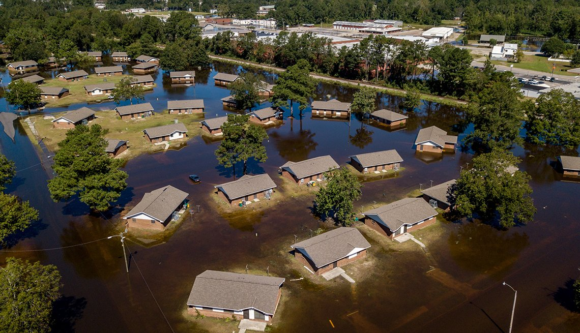 Hurricane Florence flooded homes in Lumberton, N.C., in September