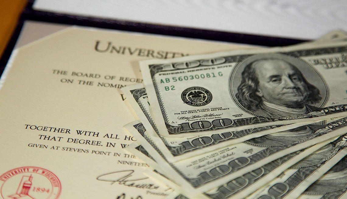 Dólares sobre un diploma universitario.