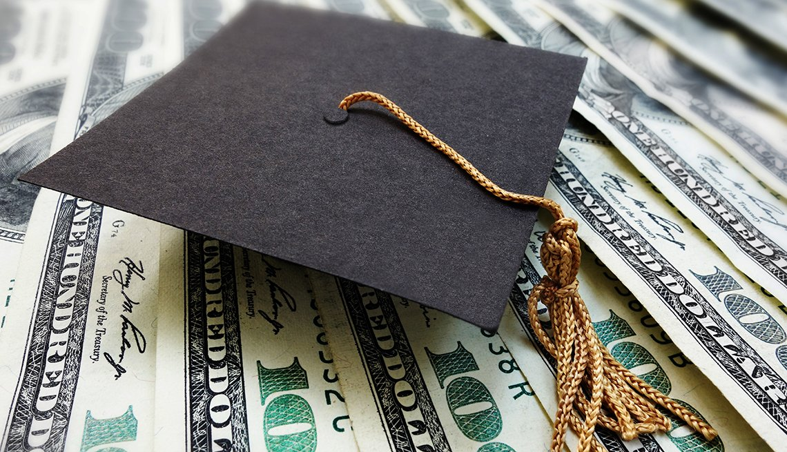 a graduation hat on top of $100 dollar bills