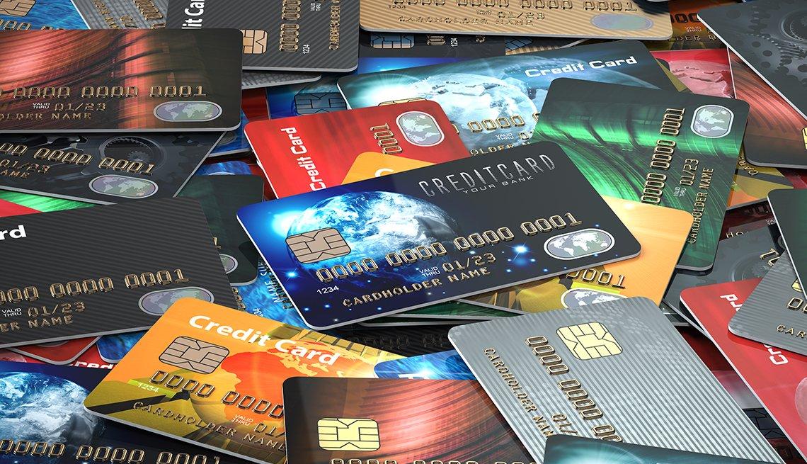 Tarjetas de crédito que cubren una superficie