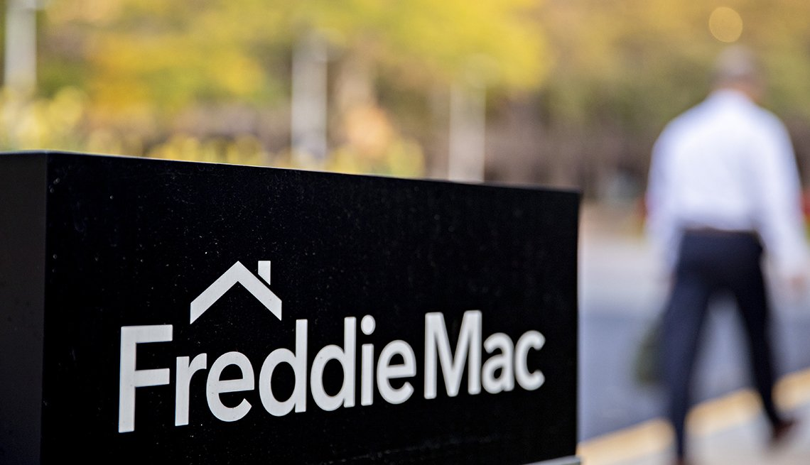 Signage stands outside the Freddie Mac headquarters in McLean, Virginia, U.S