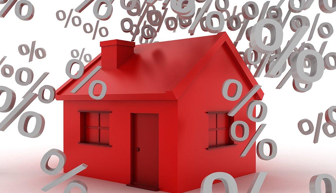 Ilustración de una casa roja con signos de porcentaje que caen por encima.