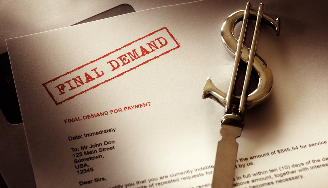 example of a final demand for payment letter from a debt collection agency with a letter opener in the shape of a dollar on top of it