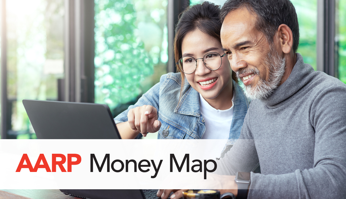 a a r p money map text over a photo of a couple doing financial planning on their laptop