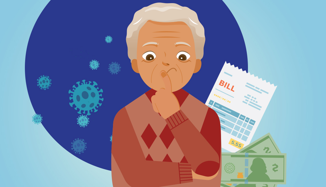 illustration of a mature hispanic man concerned about his bills and debts that have increased since the coronavirus pandemic began