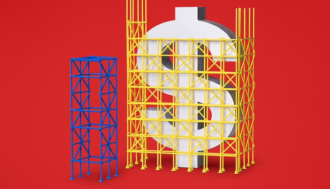 Ilustración de un signo de dólar rodeado de un andamio de construcción.