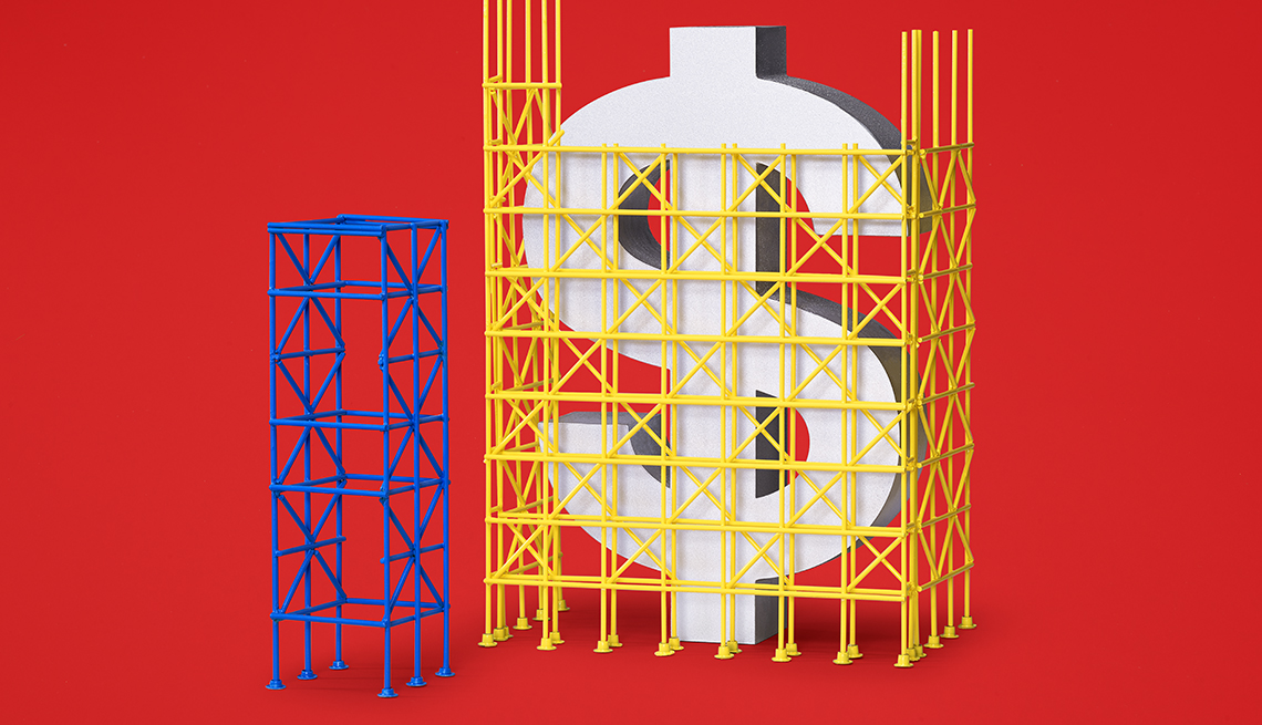 photo illustration of a large dollar symbol with scaffolding around it as if it is undergoing repairs