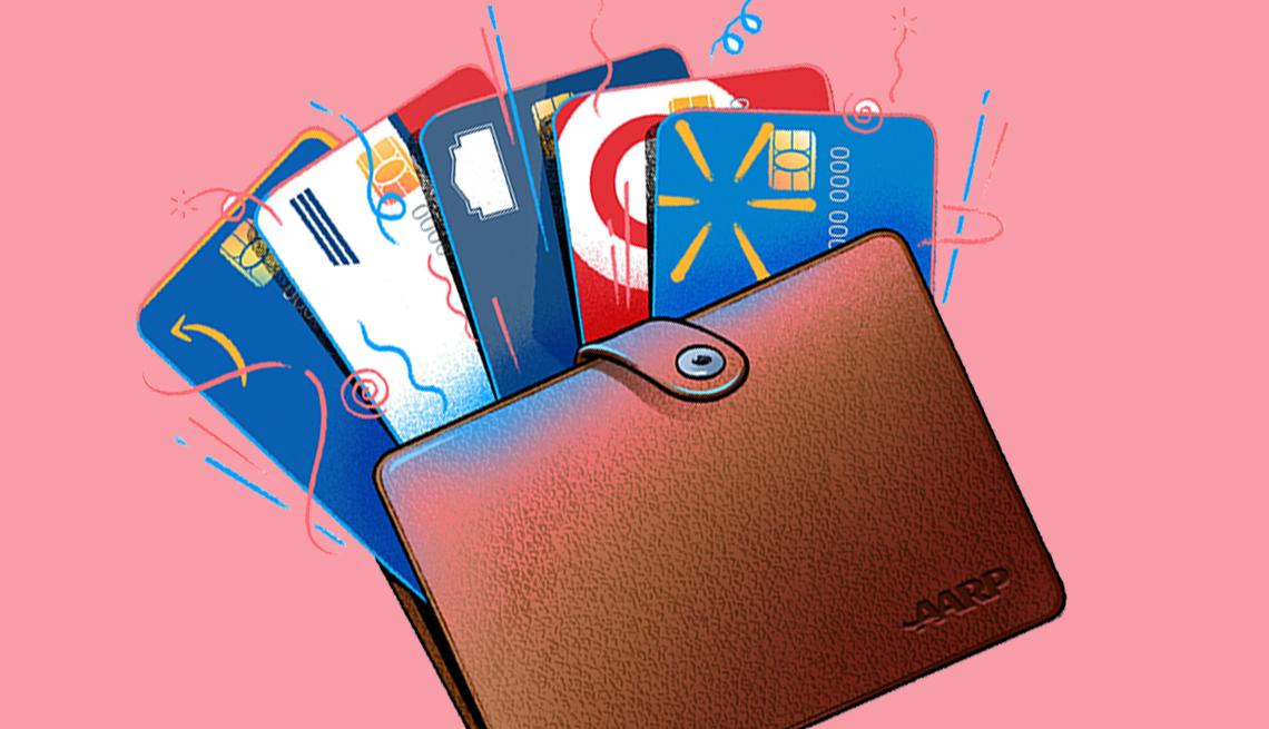 Ilustración de una billetera con tarjetas de crédito de tiendas.