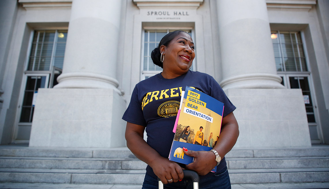 Jules Patrice Means, 64, poses for a portrait in front of Sproul Hall on the UC Berkeley campus during orientation on Wednesday, Aug. 16, 2017 in Berkeley, Calif.