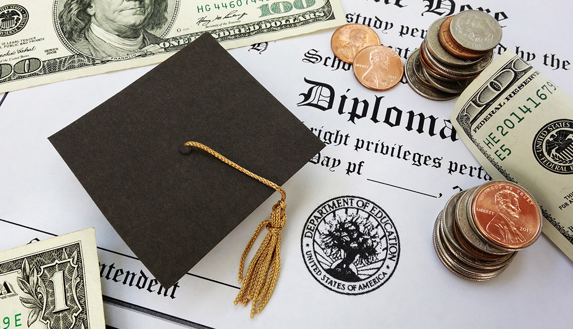 college diploma background with mortar board and money