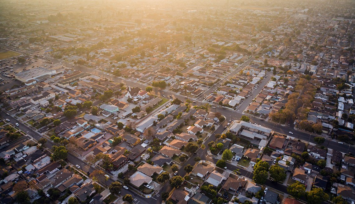 Hazy aerial view of a Southern California neighborhood at sunset