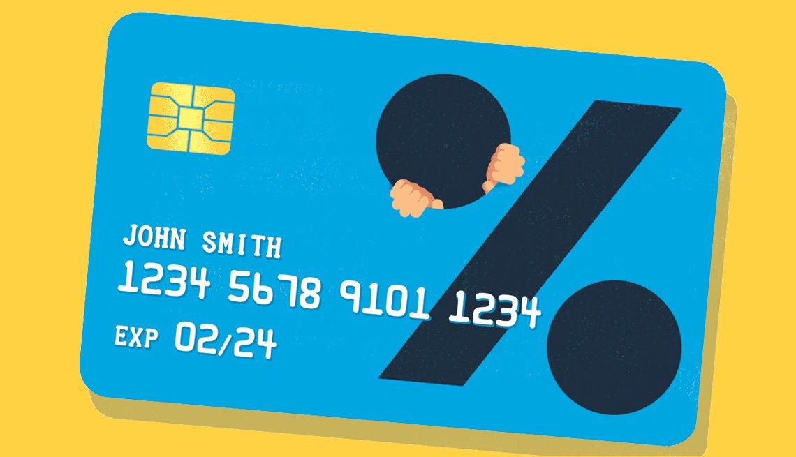 Ilustración de una tarjeta de crédito con un signo de porcentaje grande.