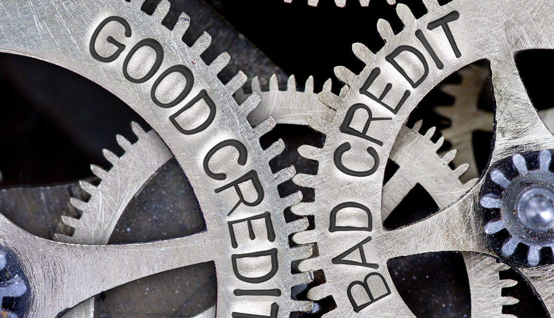 mechanism of two engaged gear wheels  labelled as good credit, bad credit
