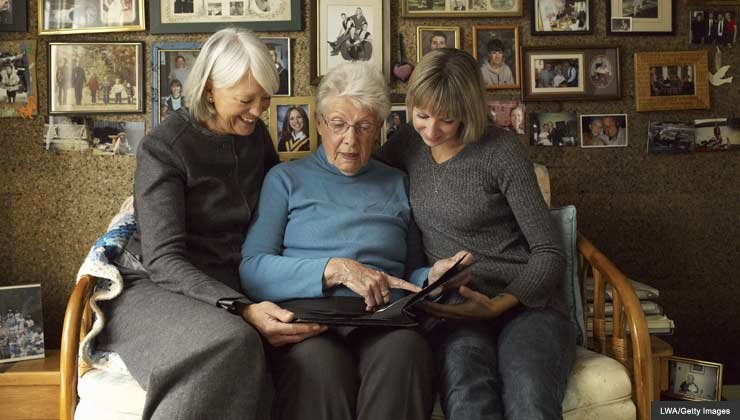 Three generations looking at family photos - what you can do to prepare a solid estate.