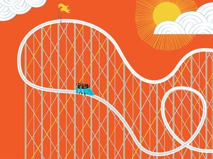 Ilustración de una montaña rusa en un día soleado