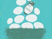 grenade in a pile of eggs