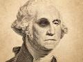 Billete de un dólar con un ojo negro de George Washington - Movimientos malos de dinero