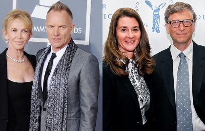 Singer Sting y su esposa Trudie Styler, Melinda Gates y Bill Gates