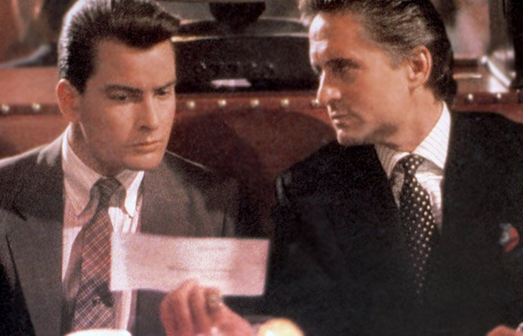 Wall Street Gordon Gekko (Michael Douglas) and Buddy Fox (Charlie Sheen)