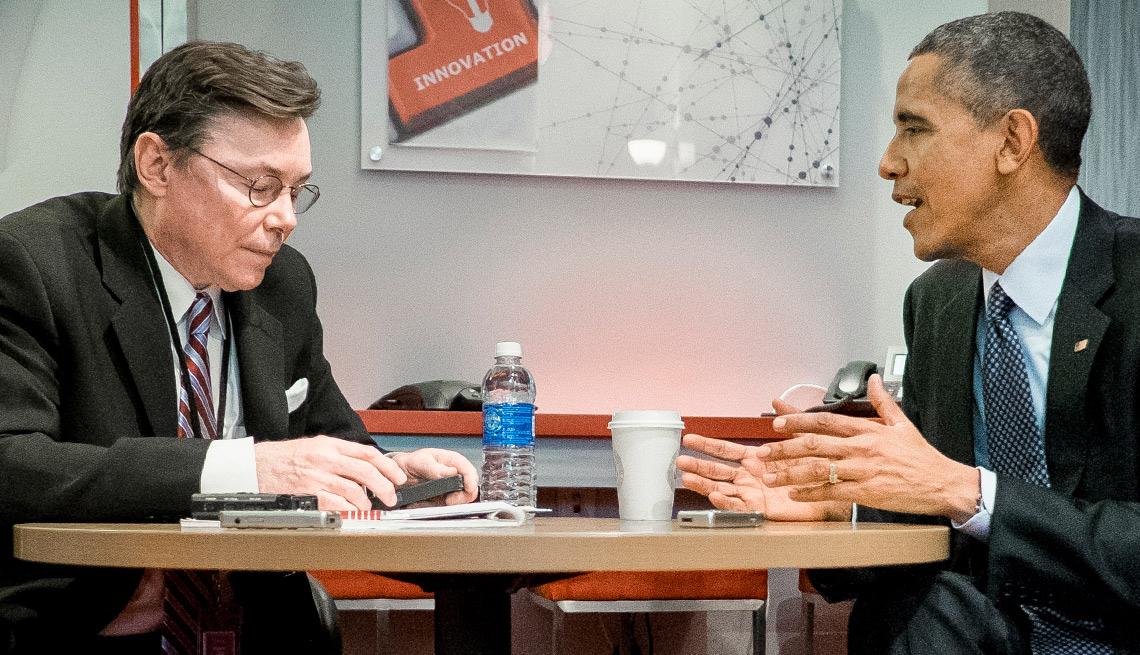 AARP Magazine Editor Bob Love interviews President Barack Obama at AARP headquarters in Washington, D.C. on February 23, 2015.