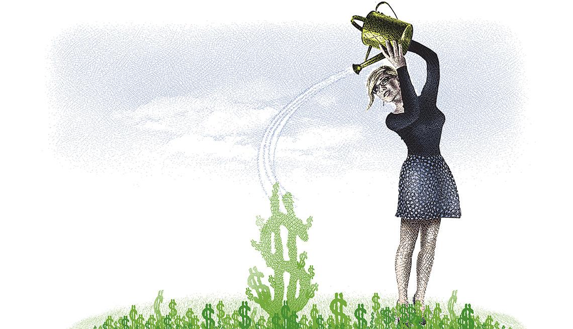 Ilustración de una mujer echando agua sobre unas plantas que tienen forma de signo de dólar para hacer crecer su plan de retiro