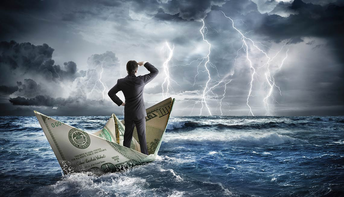 Man sailing on money ship in storm, Market Volatility Is Nothing New