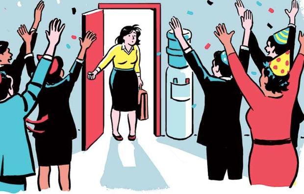 Ilustración de una mujer ejecutiva que es recibida en una fiesta sorpresa - Qué hacer si estás jubilado