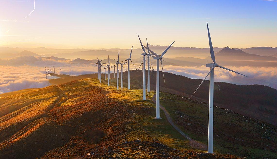 Molinos de viento para generar energía como una inversión de responsabilidad social