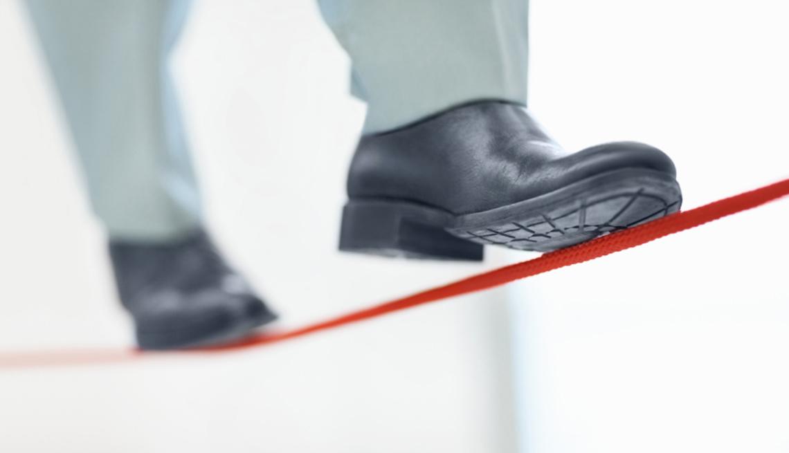 man, walking, red, tight, rope