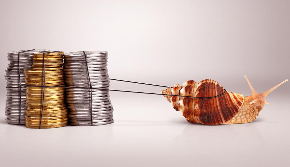 Carga de monedas arrastradas por un caracol
