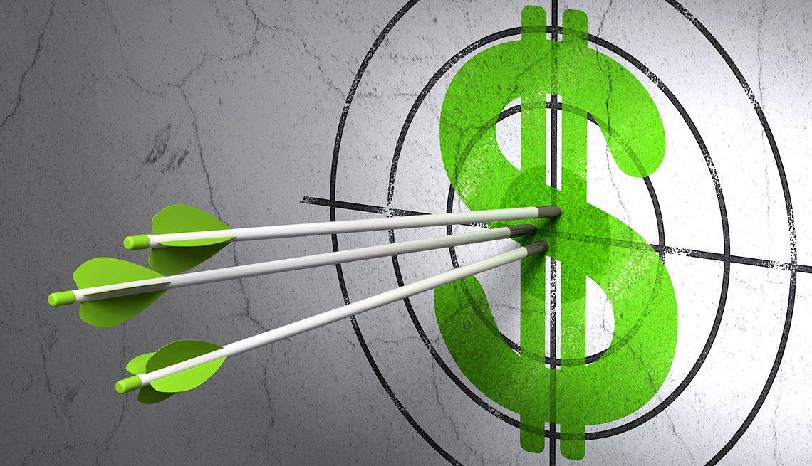 green arrows in a money target