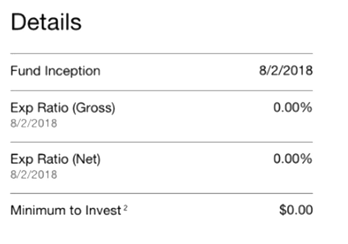 Chart the reads: Details, Fund Inception 8/2/2018, Exp Ratio (Gross) 8/2/2018 0.00%, Exp Ratio (Net) 8/2/2018 0.00%, Minimum to Invest2 $0.00