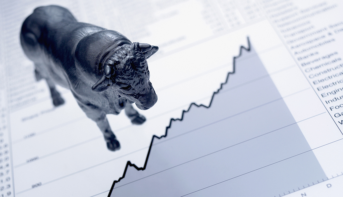 Bull statue on top of a stock chart
