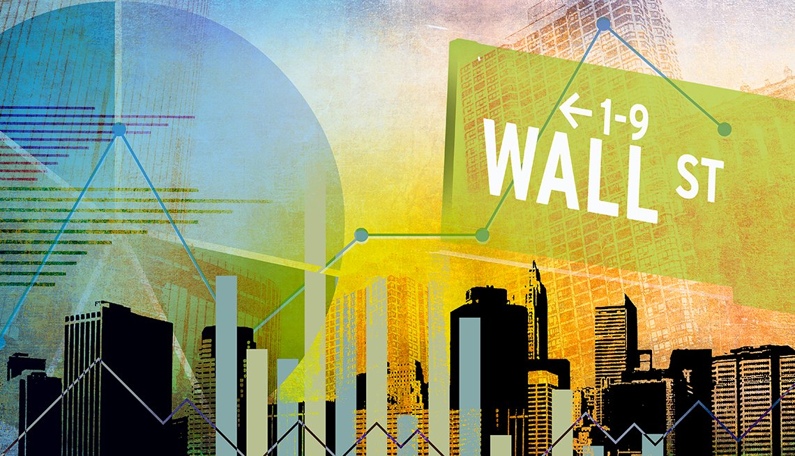 Illustration of wall street sign and city backdrop
