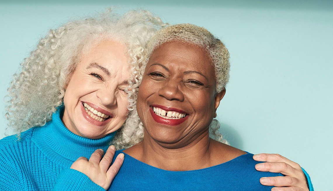 Happy diverse older women smiling
