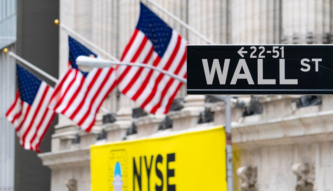 Wall Street sign near New York Stock Exchange