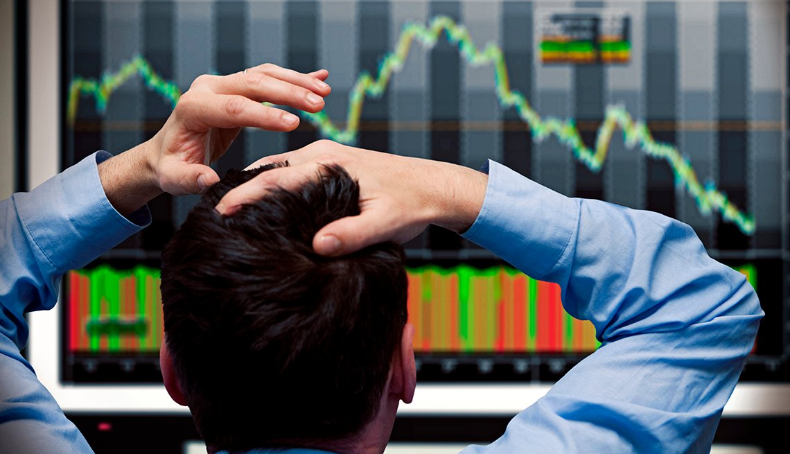 Man watching the stock market fail
