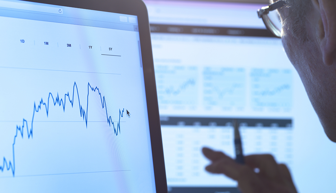 man looks at computer screen display of stock  growth over time