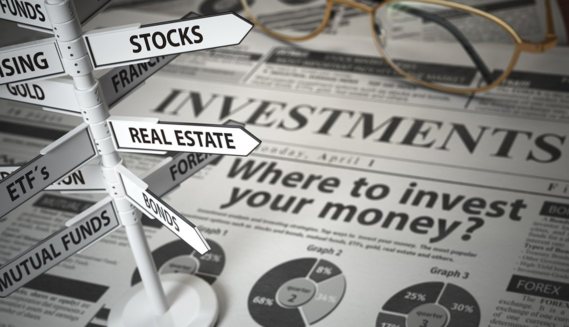newspaper and direction sign with investment options