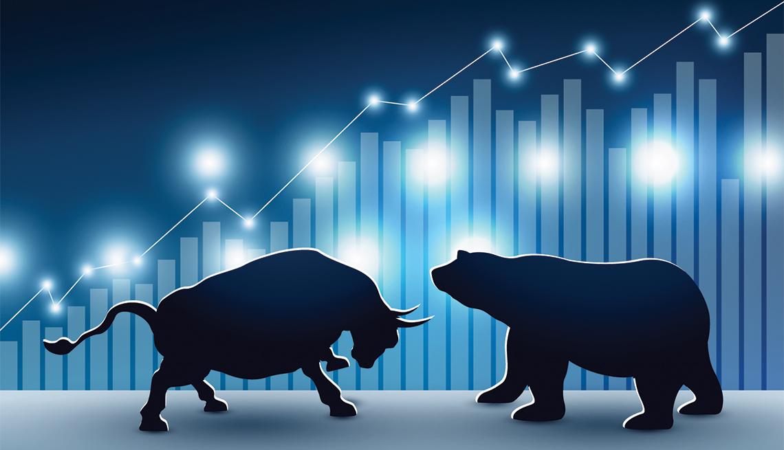 Ilustraciones de un toro y un oso frente a una gráfica estadística que muestra un alza.