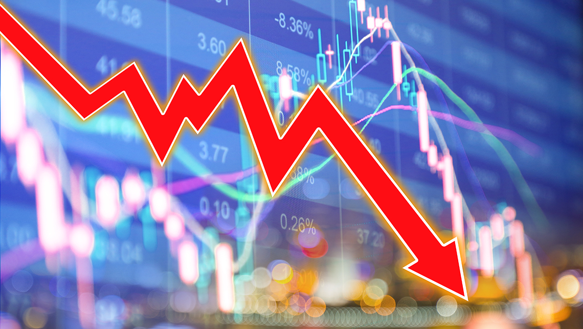 stock market screen display overlaid with a large red downward trending arrow