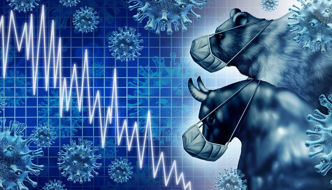 illustrated bull and bear wearing face masks and look at stock prices falling on economic news of  pandemic and coronavirus