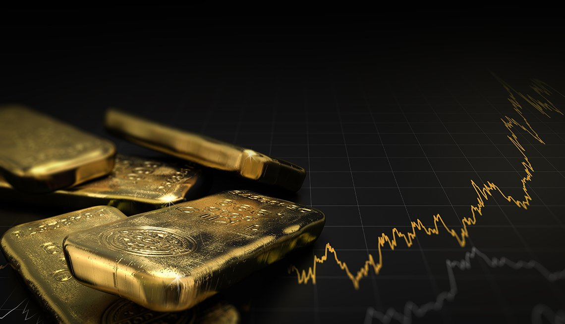 illustration of gold ingots over black background with a financial graph going up