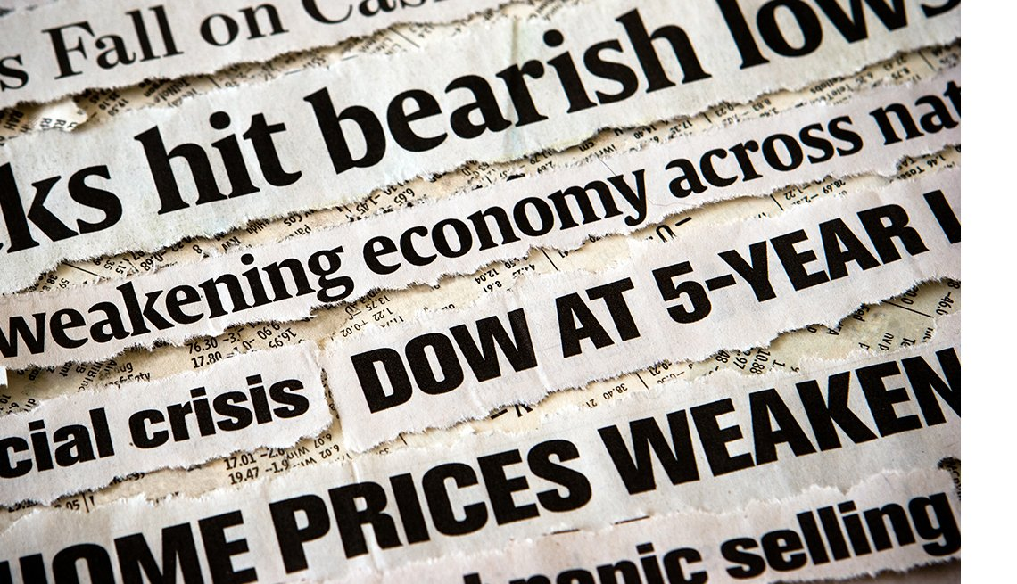 screen full of snippets of economic crisis related news headlines in a diagonal close up montage