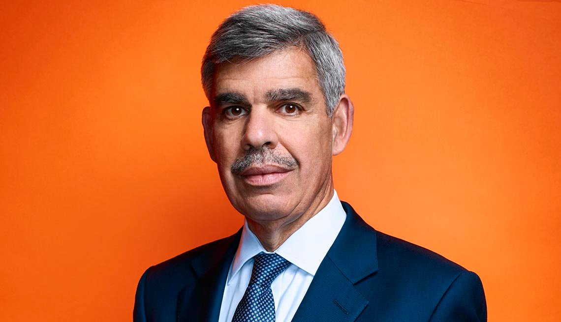 close up portrait of mohamed el erain a chief economic advisor