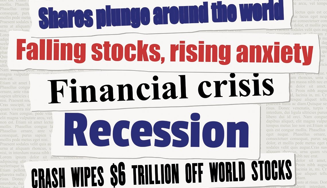 stacked lines of sample bad news headlines about a financial crisis and stock markets falling down