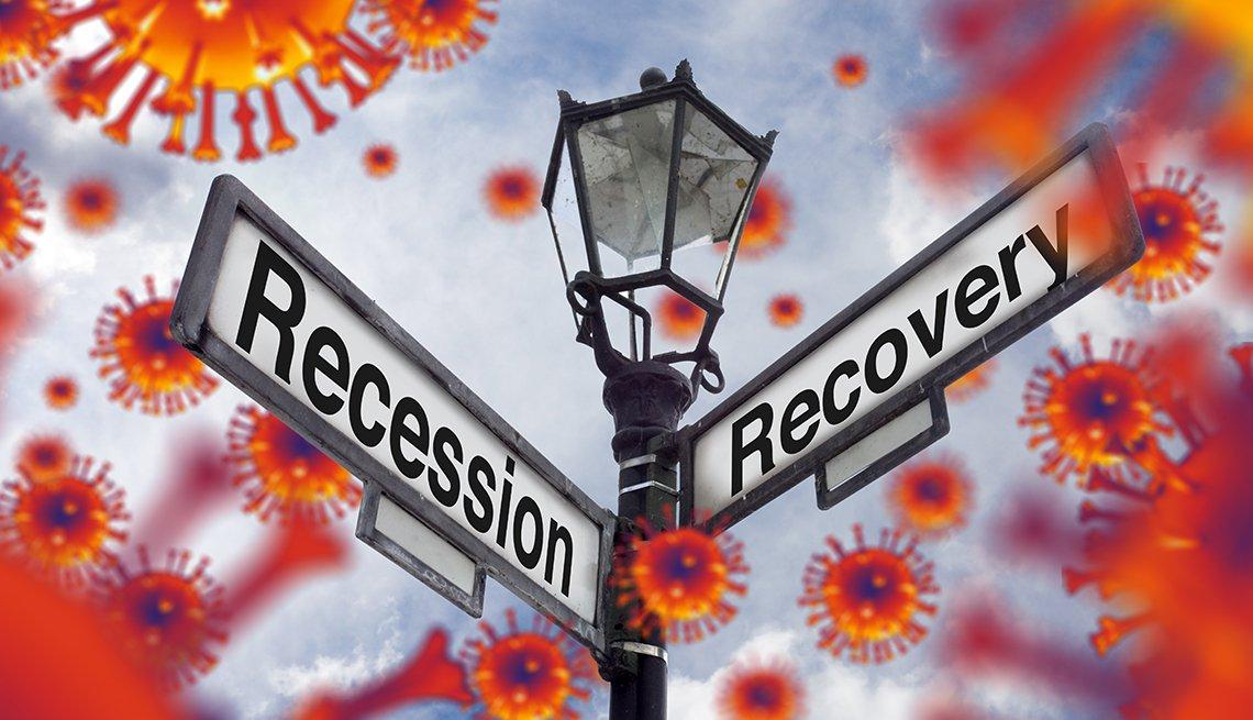 Ilustración de una lámpara con señales de calles que dicen en inglés, recesión y recuperación, con imágenes de coronavirus alrededor